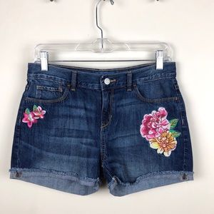 Old Navy Jean Shorts Embroidered Flowers 16 Reg